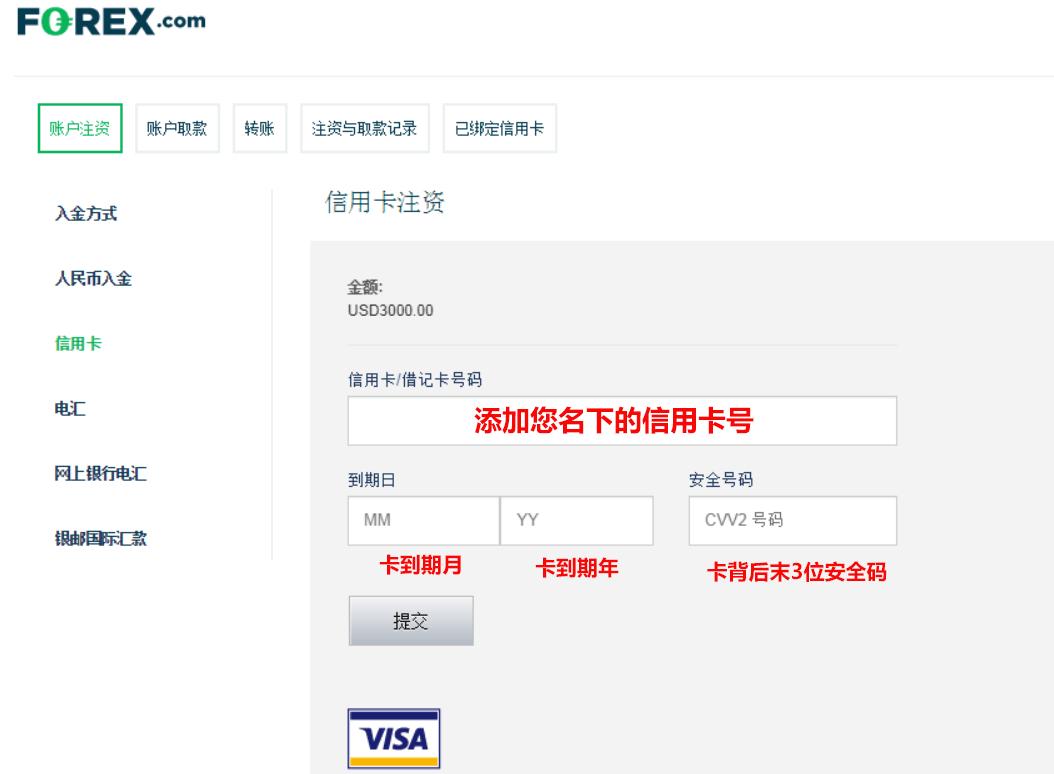 forex嘉盛外汇信用卡入金流程